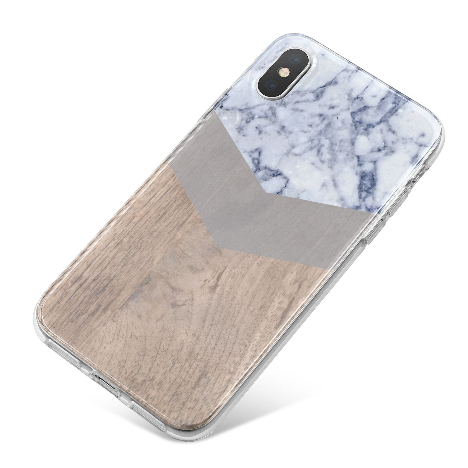 Marble Wood Geometric 4 iPhone X Bumper Case on Silver iPhone