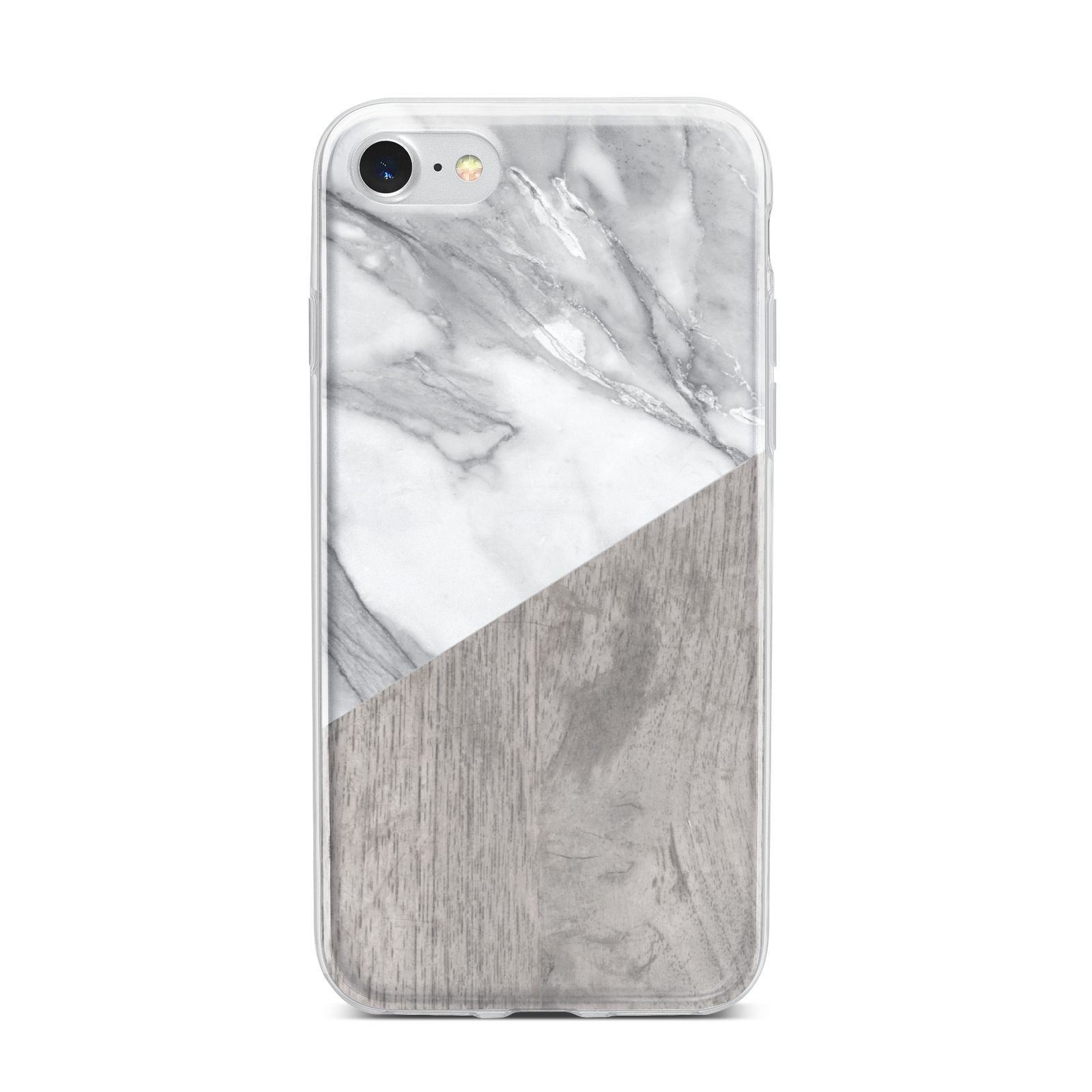 Marble Wood Geometric 5 iPhone 7 Bumper Case on Silver iPhone