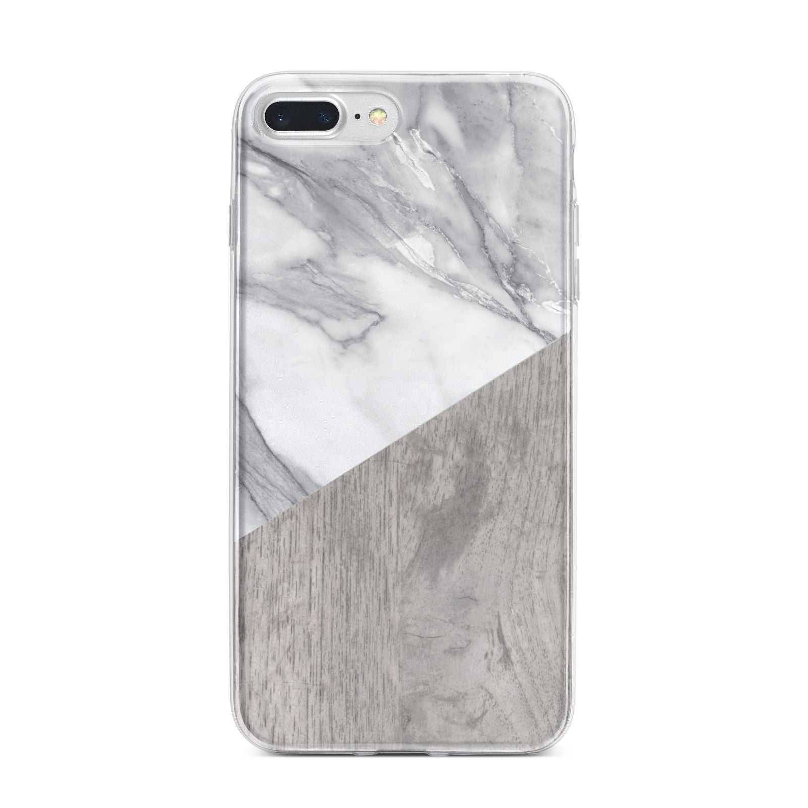 Marble Wood Geometric 5 iPhone 7 Plus Bumper Case on Silver iPhone