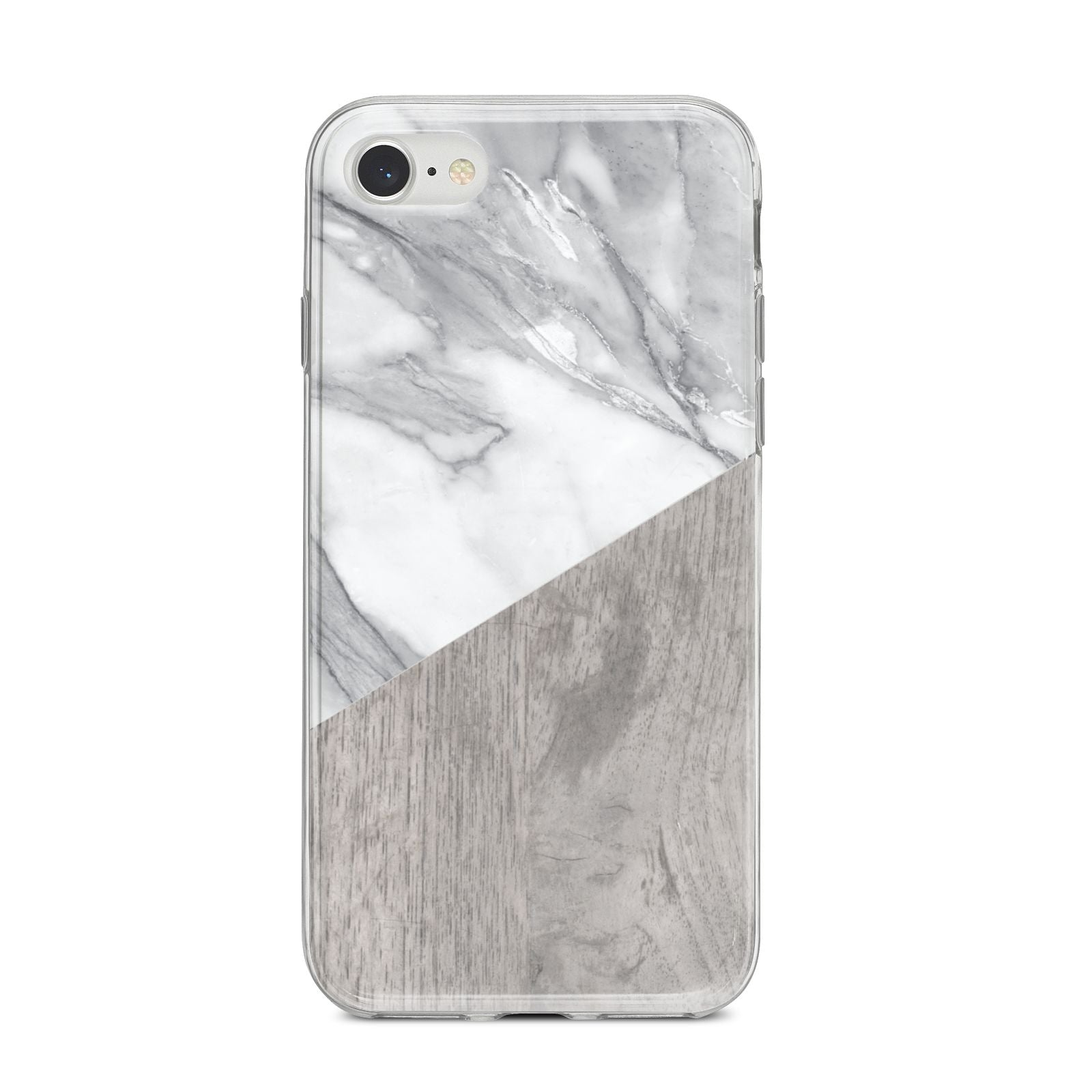 Marble Wood Geometric 5 iPhone 8 Bumper Case on Silver iPhone