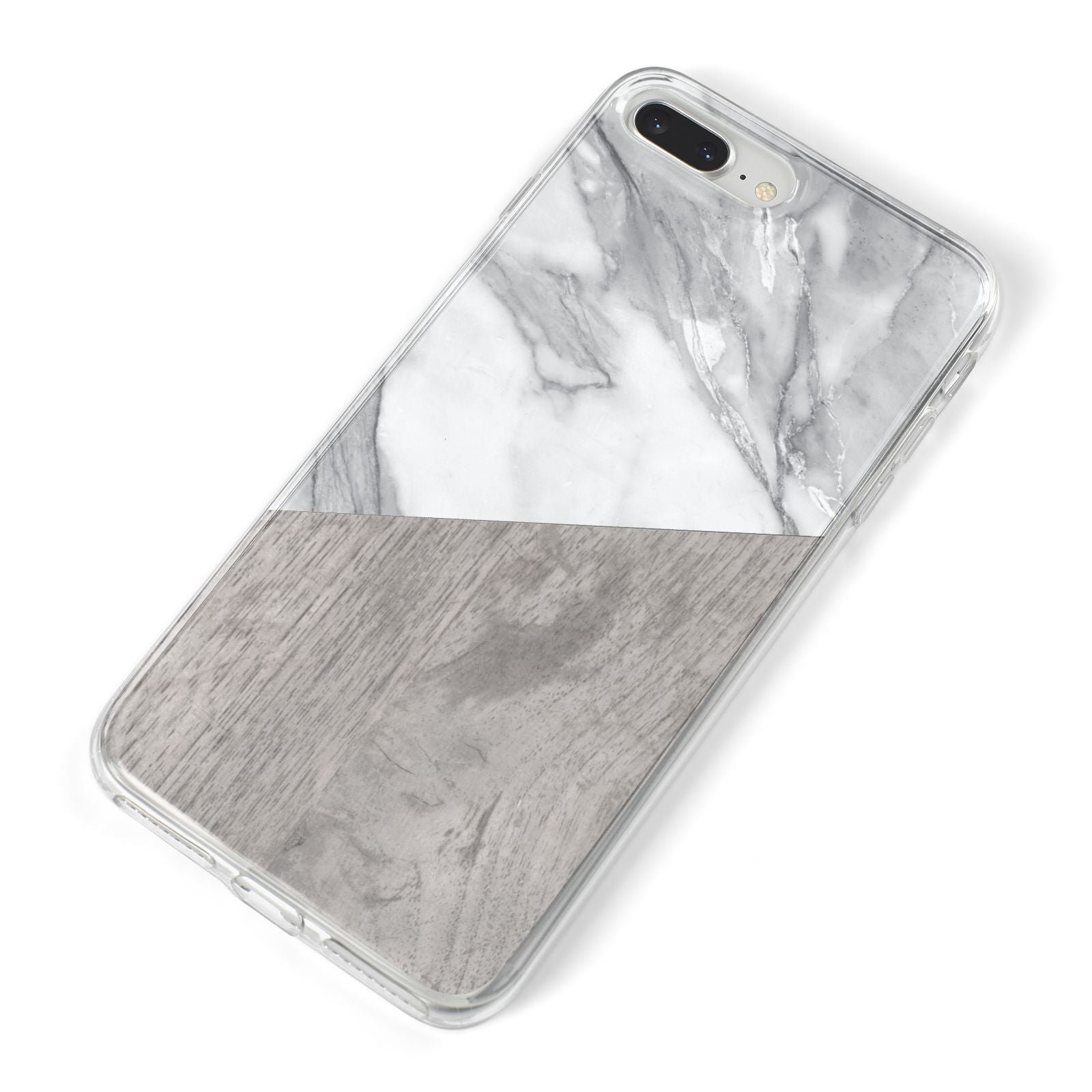 Marble Wood Geometric 5 iPhone 8 Plus Bumper Case on Silver iPhone Alternative Image