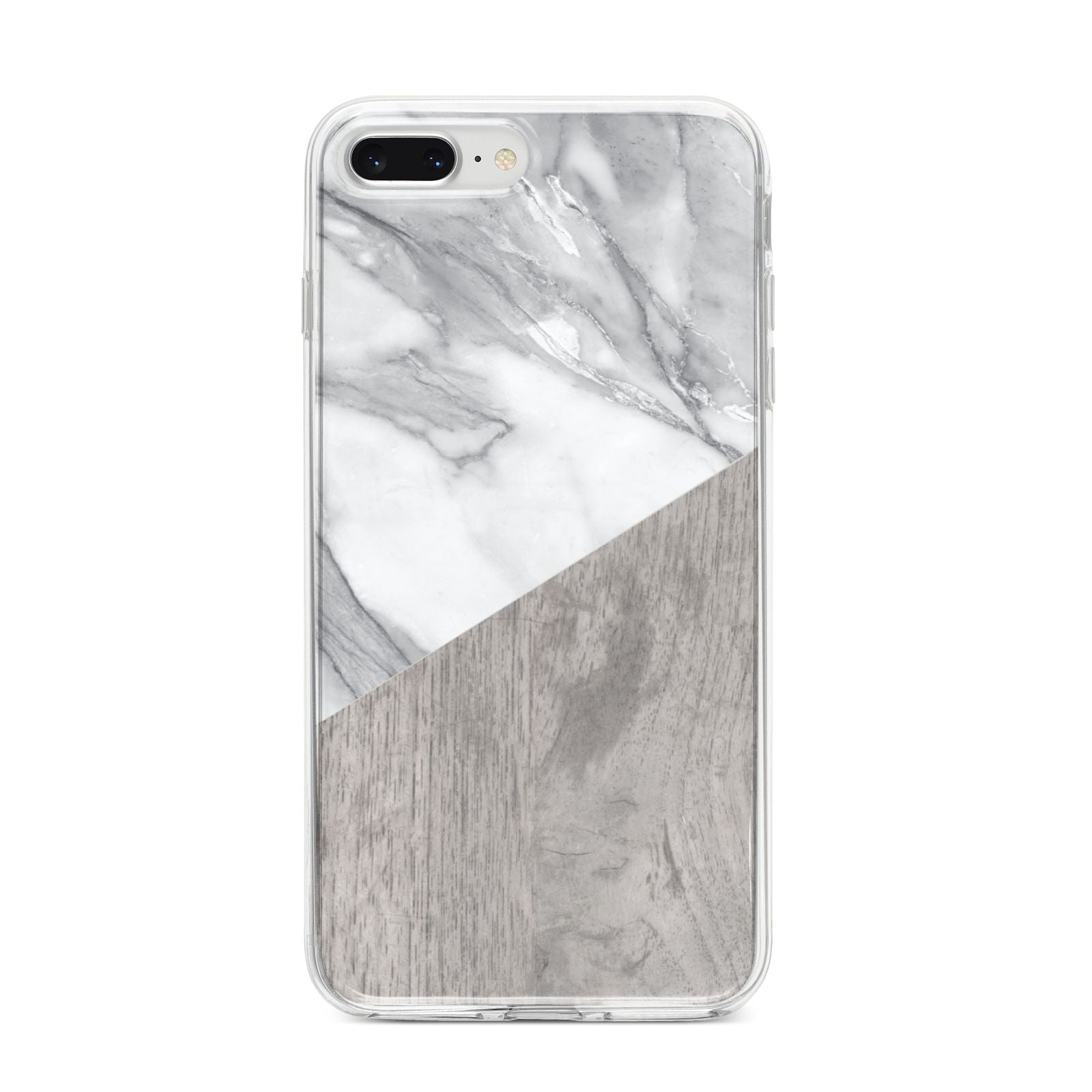 Marble Wood Geometric 5 iPhone 8 Plus Bumper Case on Silver iPhone
