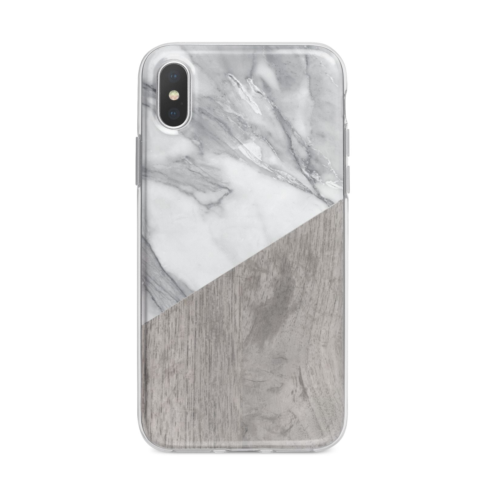Marble Wood Geometric 5 iPhone X Bumper Case on Silver iPhone Alternative Image 1