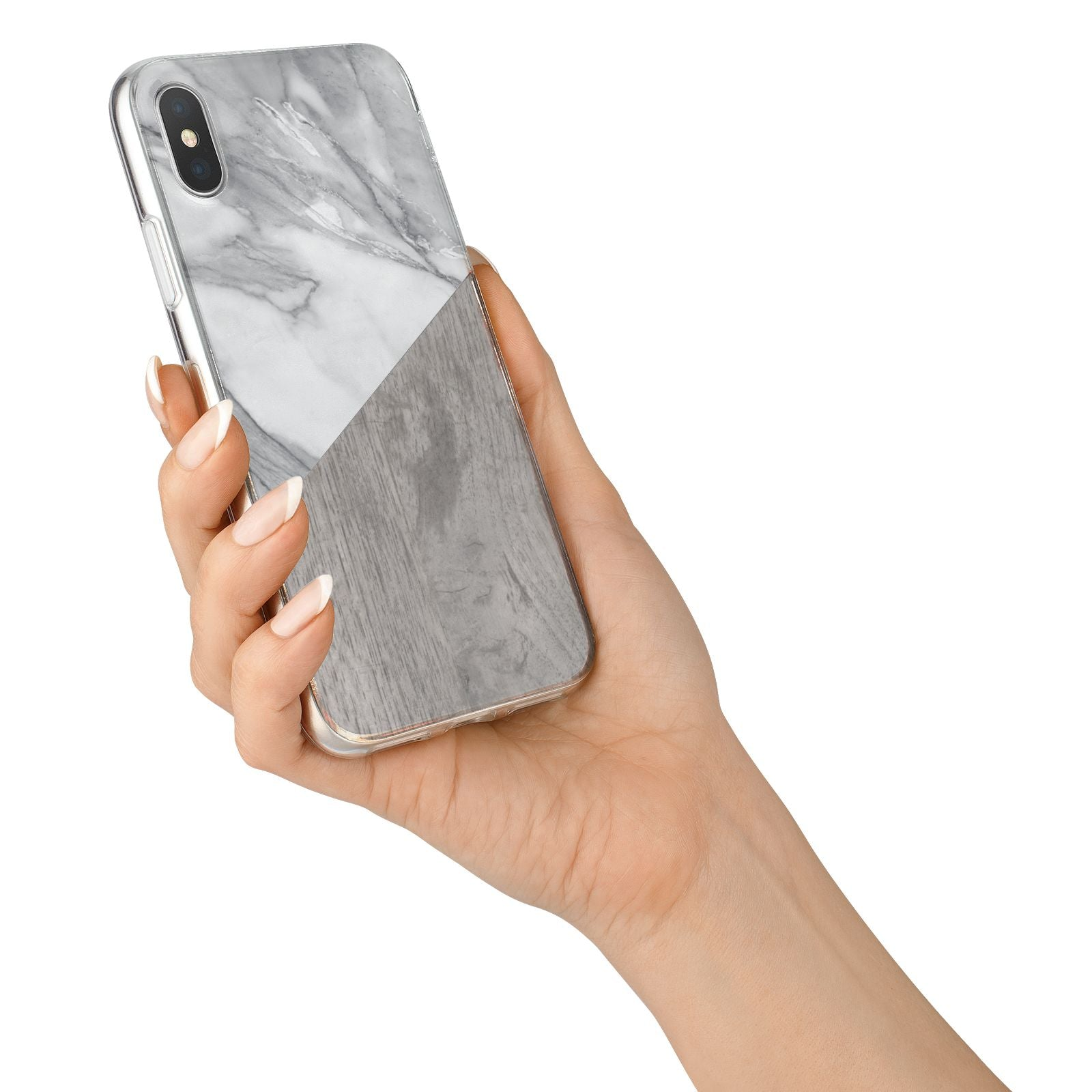 Marble Wood Geometric 5 iPhone X Bumper Case on Silver iPhone Alternative Image 2