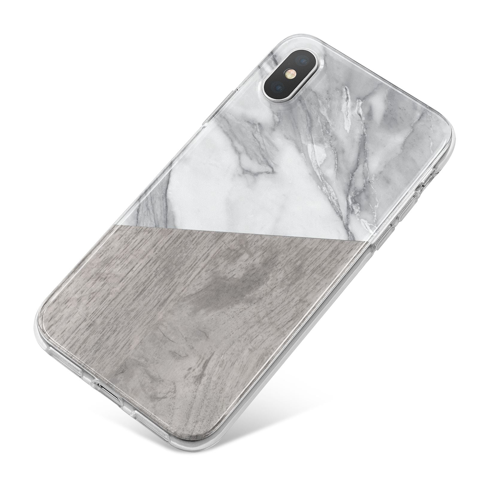 Marble Wood Geometric 5 iPhone X Bumper Case on Silver iPhone