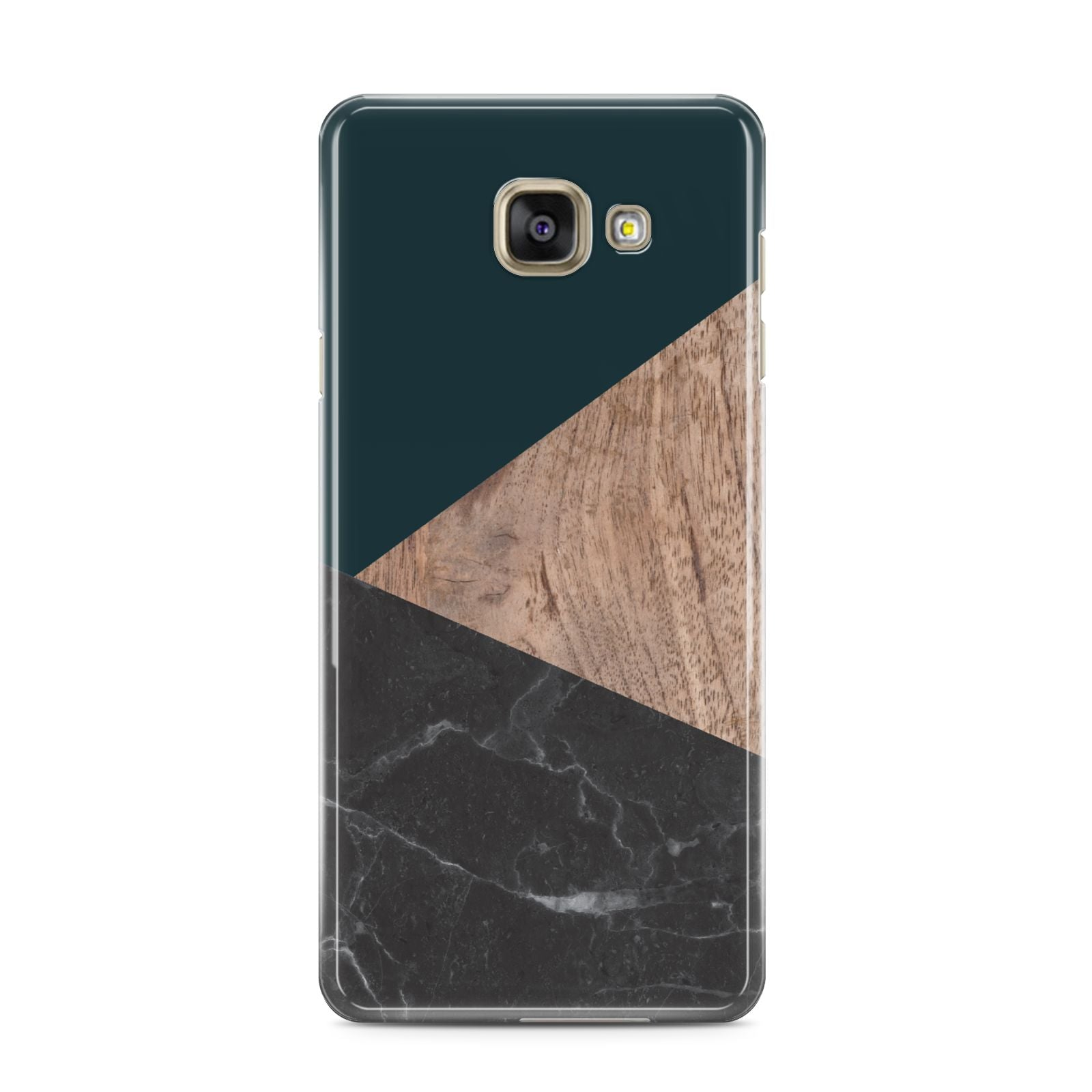 Marble Wood Geometric 6 Samsung Galaxy A3 2016 Case on gold phone