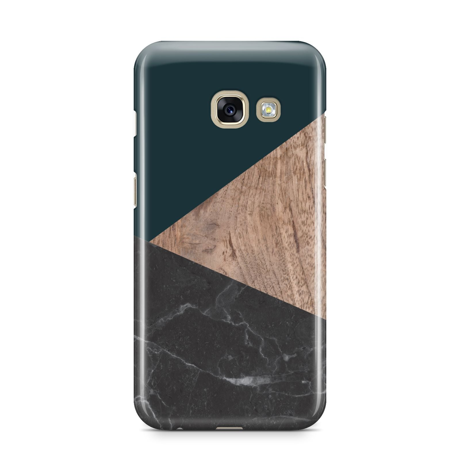 Marble Wood Geometric 6 Samsung Galaxy A3 2017 Case on gold phone
