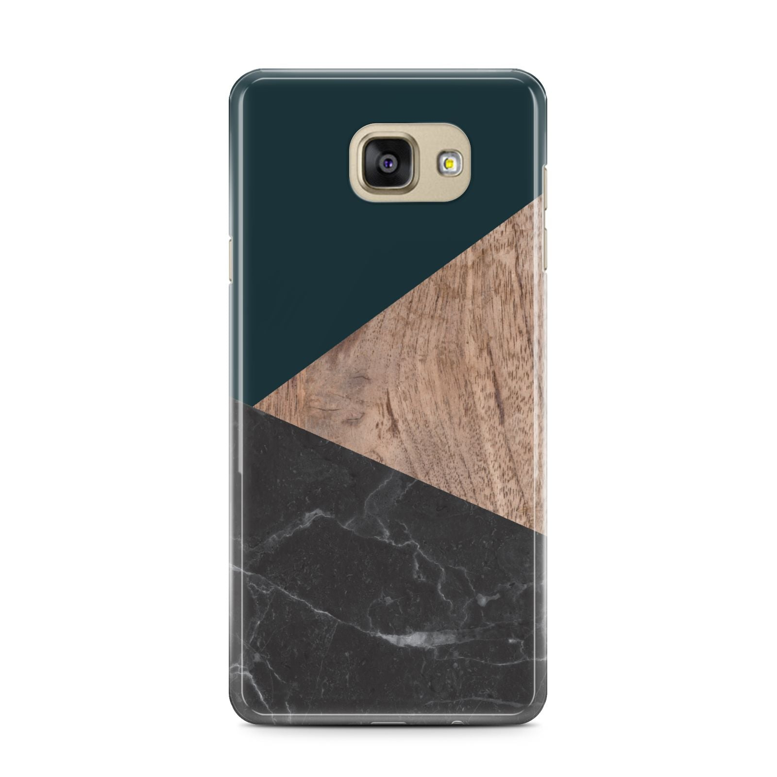 Marble Wood Geometric 6 Samsung Galaxy A7 2016 Case on gold phone