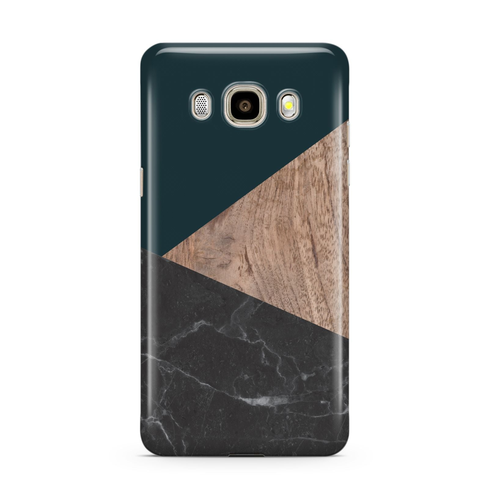 Marble Wood Geometric 6 Samsung Galaxy J7 2016 Case on gold phone