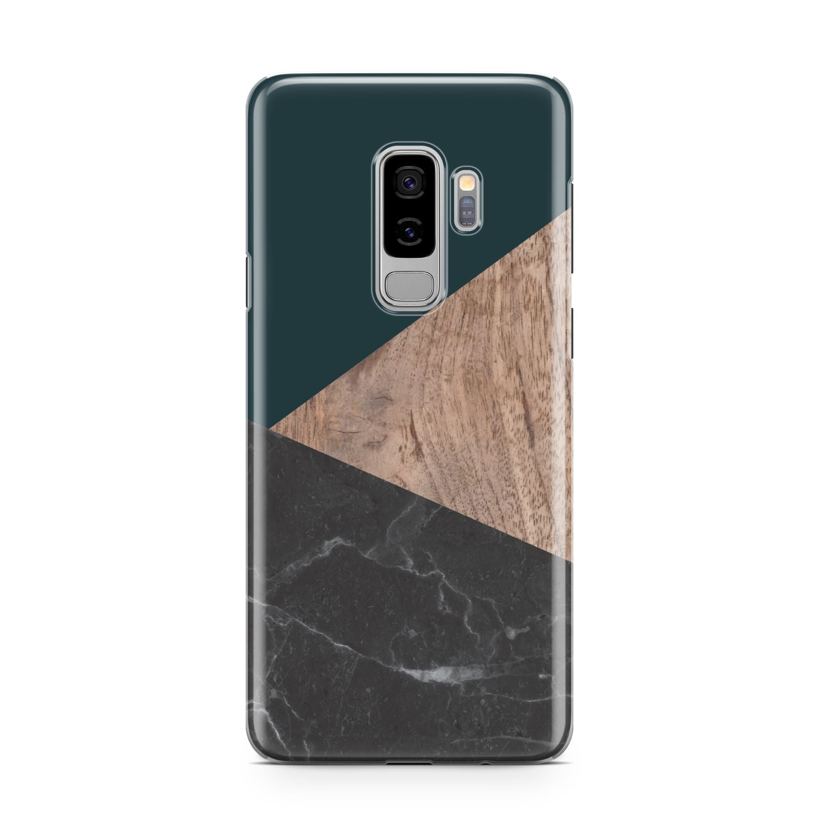 Marble Wood Geometric 6 Samsung Galaxy S9 Plus Case on Silver phone