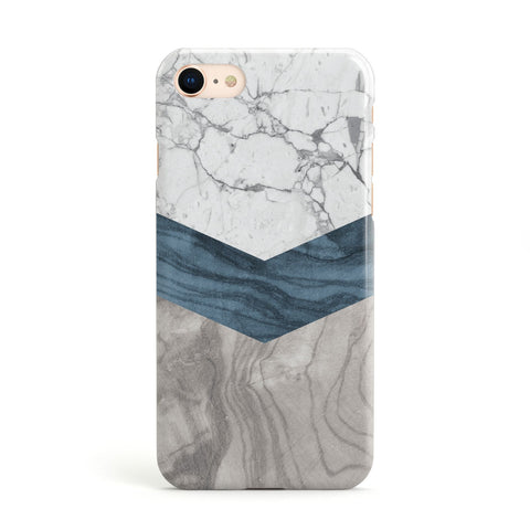 Marble Wood Geometric 8 Apple iPhone Case