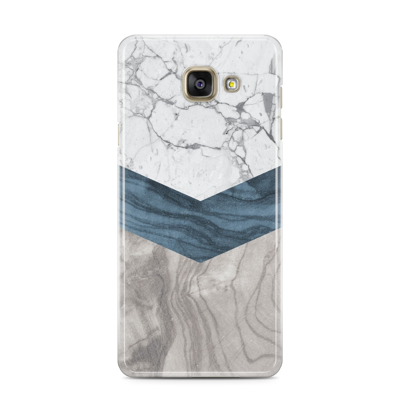 Marble Wood Geometric 8 Samsung Galaxy A3 2016 Case on gold phone