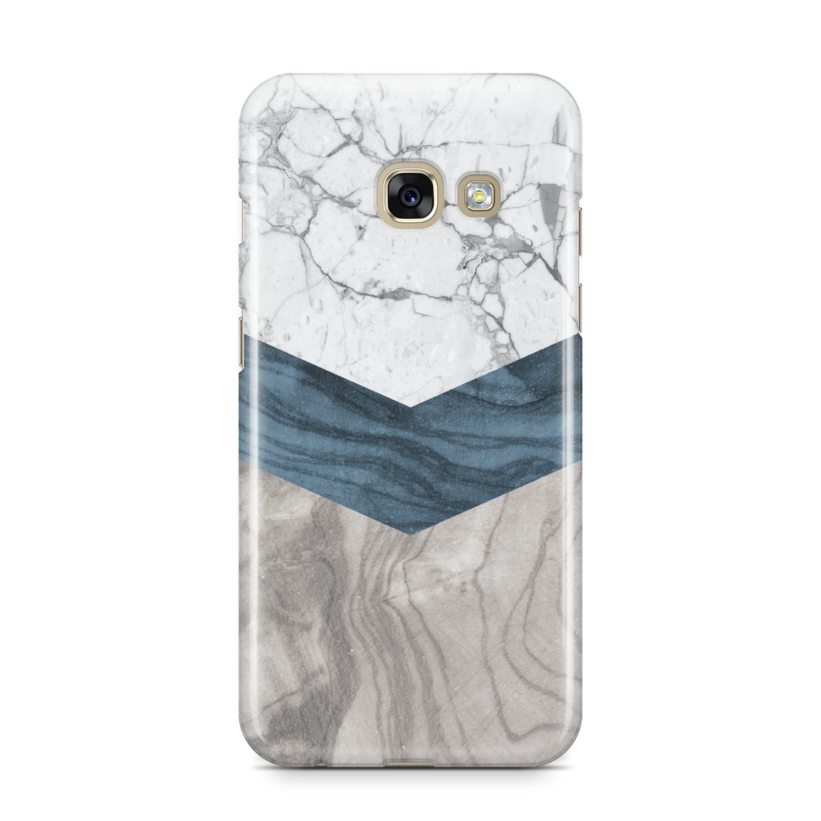 Marble Wood Geometric 8 Samsung Galaxy A3 2017 Case on gold phone