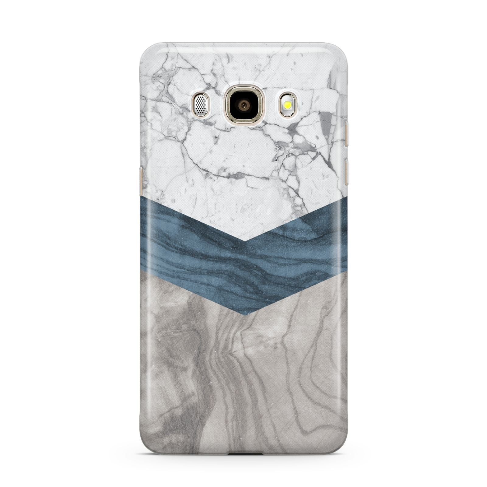 Marble Wood Geometric 8 Samsung Galaxy J7 2016 Case on gold phone