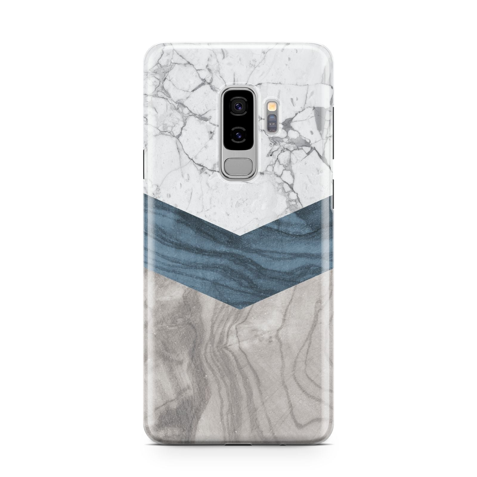 Marble Wood Geometric 8 Samsung Galaxy S9 Plus Case on Silver phone