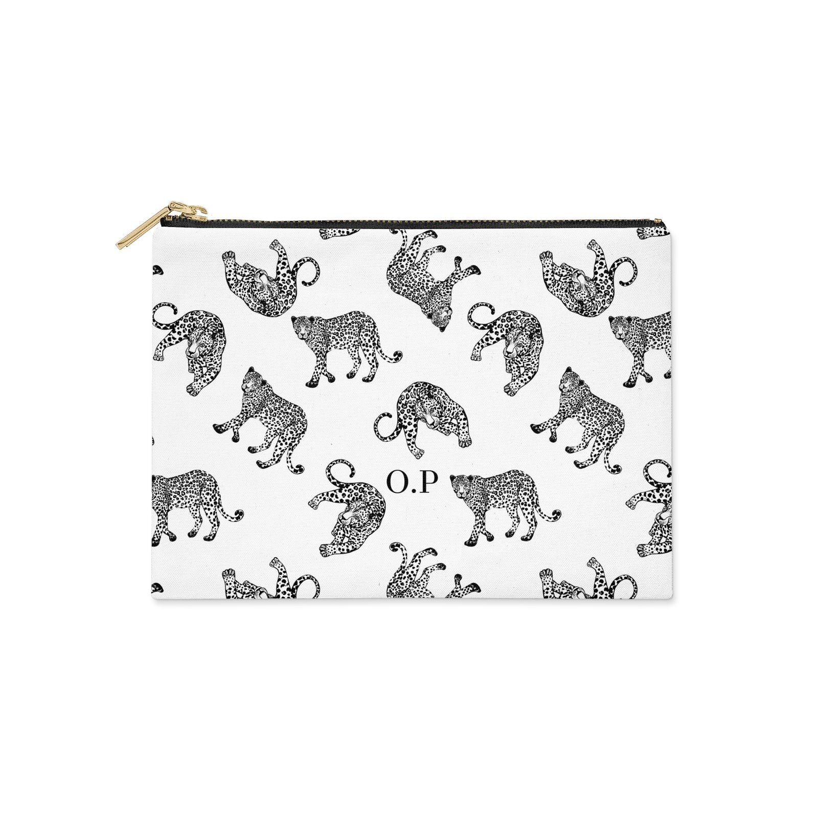 Monochrome Leopard Print Personalised Clutch Bag Zipper Pouch