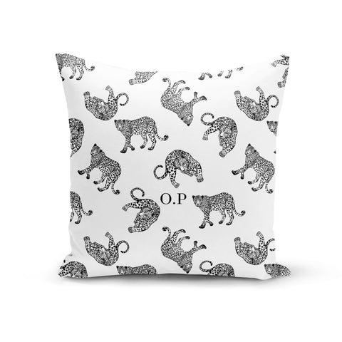 Monochrome Leopard Print Personalised Cushion