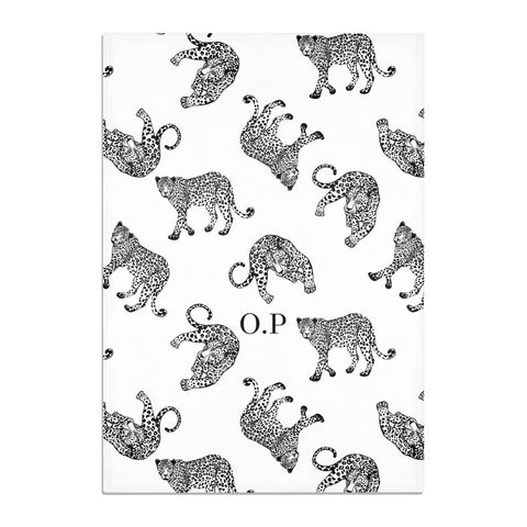 Monochrome Leopard Print Personalised Tea Towel