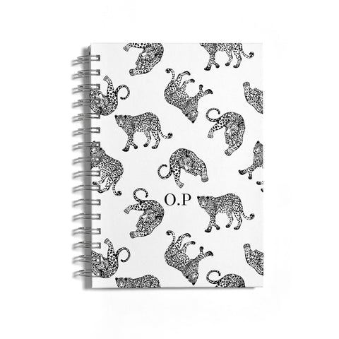 Monochrome Leopard Print Personalised Notebook