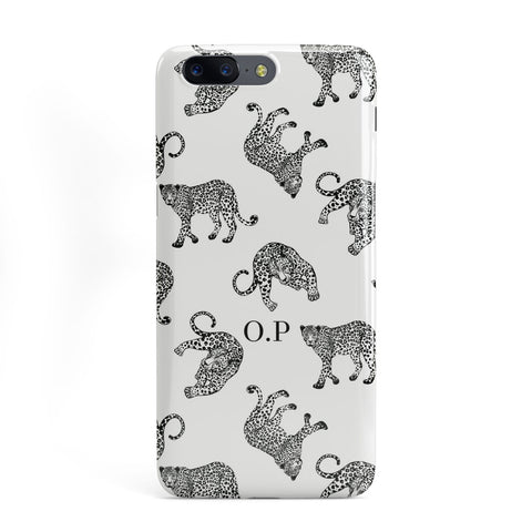 Monochrome Leopard Print Personalised OnePlus Case