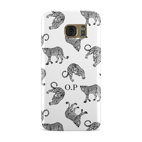 Monochrome Leopard Print Personalised Samsung Galaxy Case