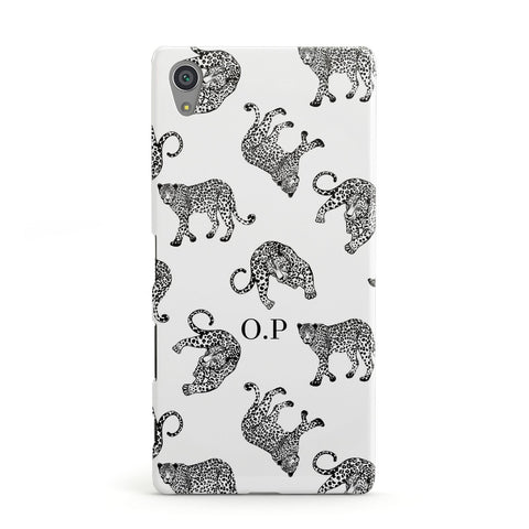 Monochrome Leopard Print Personalised Sony Case