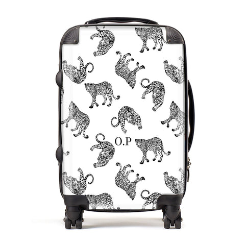 Monochrome Leopard Print Personalised Suitcase