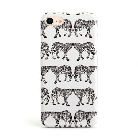 Monochrome Mirrored Leopard Print iPhone Case