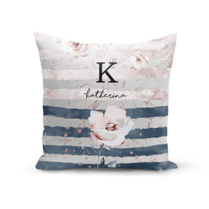 Monogram Pink Blue Striped Watercolour Cotton Cushion