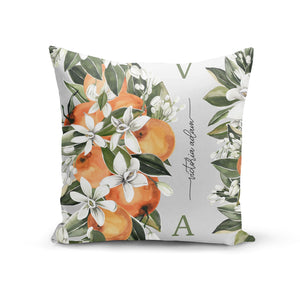 Monogrammed Orange Tree Cotton Cushion