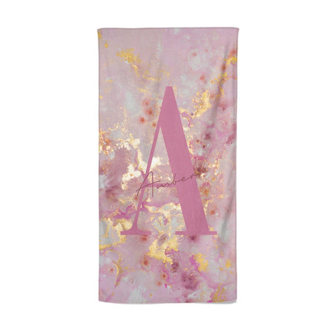 Monogrammed Pink & Gold Marble Beach Towel