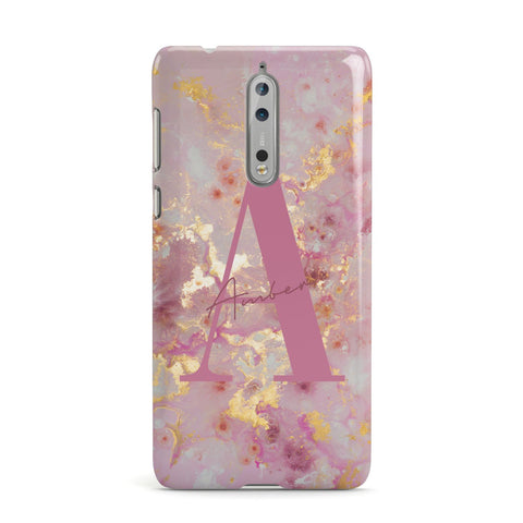 Monogrammed Pink & Gold Marble Nokia Case