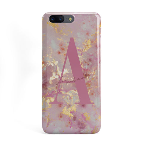 Monogrammed Pink & Gold Marble OnePlus Case