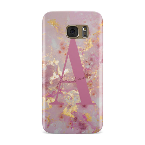 Monogrammed Pink & Gold Marble Samsung Galaxy Case