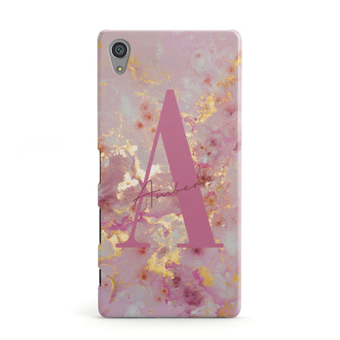 Monogrammed Pink & Gold Marble Sony Case