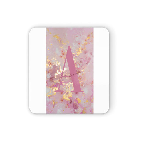 Monogrammed Pink & Gold Marble Coasters set of 4