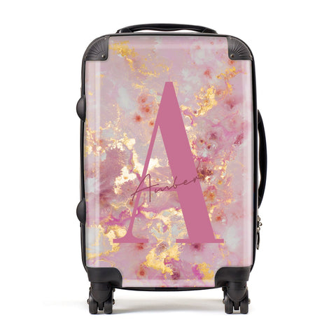 Monogrammed Pink & Gold Marble Suitcase