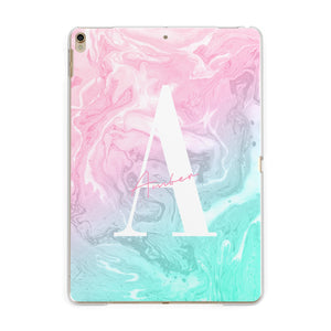 Monogrammed Pink Turquoise Pastel Marble Apple iPad Gold Case