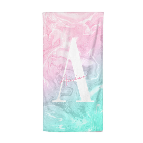 Monogrammed Pink Turquoise Pastel Marble Beach Towel