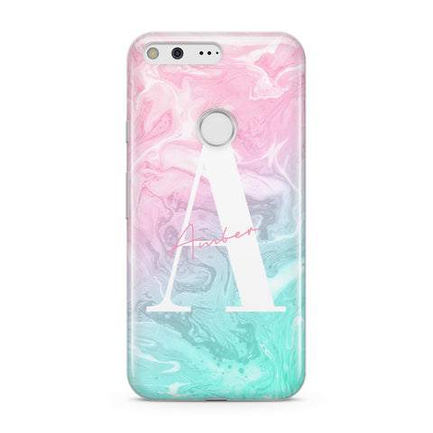 Monogrammed Pink Turquoise Pastel Marble Google Case