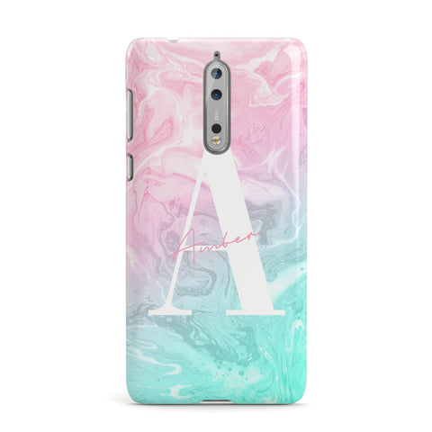 Monogrammed Pink Turquoise Pastel Marble Nokia Case