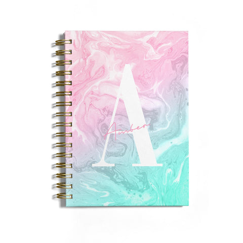 Monogrammed Pink Turquoise Pastel Marble Notebook