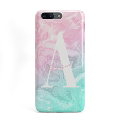 Monogrammed Pink Turquoise Pastel Marble OnePlus Case