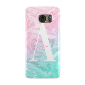 Monogrammed Pink Turquoise Pastel Marble Samsung Galaxy Case