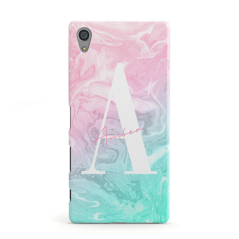 Monogrammed Pink Turquoise Pastel Marble Sony Case