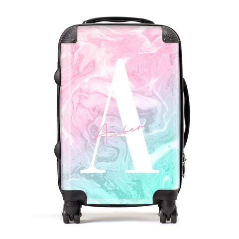 Monogrammed Pink Turquoise Pastel Marble Suitcase
