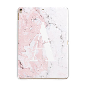 Monogrammed Pink White Ink Marble Apple iPad Gold Case