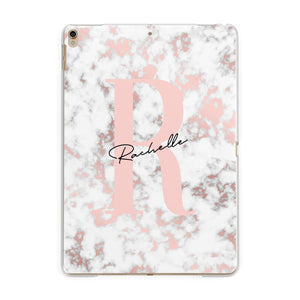 Monogrammed Rose Gold Marble Apple iPad Gold Case