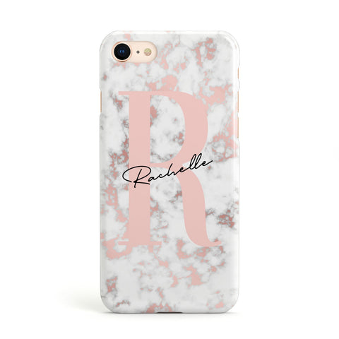 Monogrammed Rose Gold Marble iPhone Case