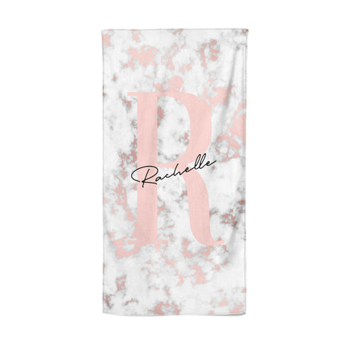 Monogrammed Rose Gold Marble Beach Towel